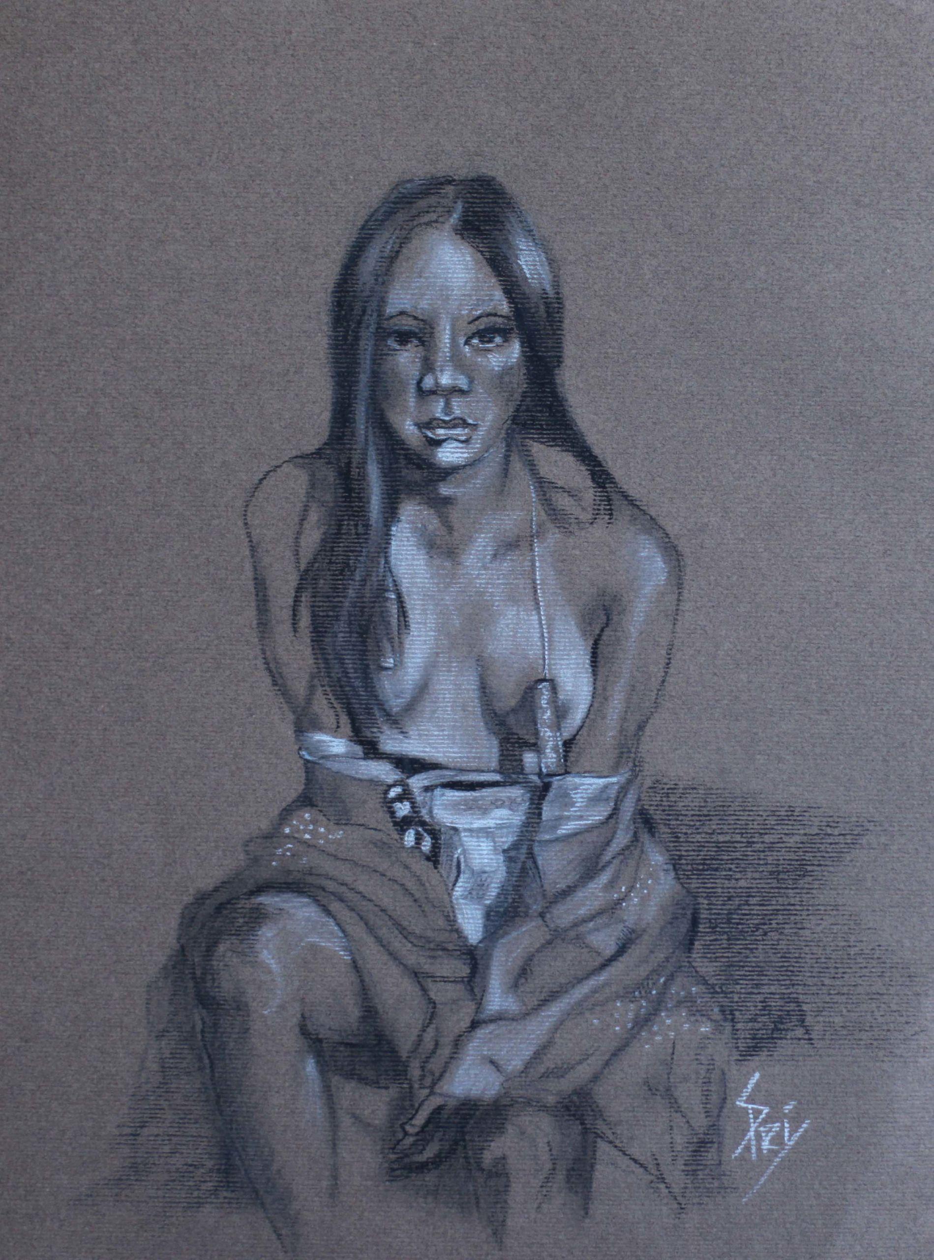 Fusain et crayon dessiné par l'artiste-peintre S.Pri