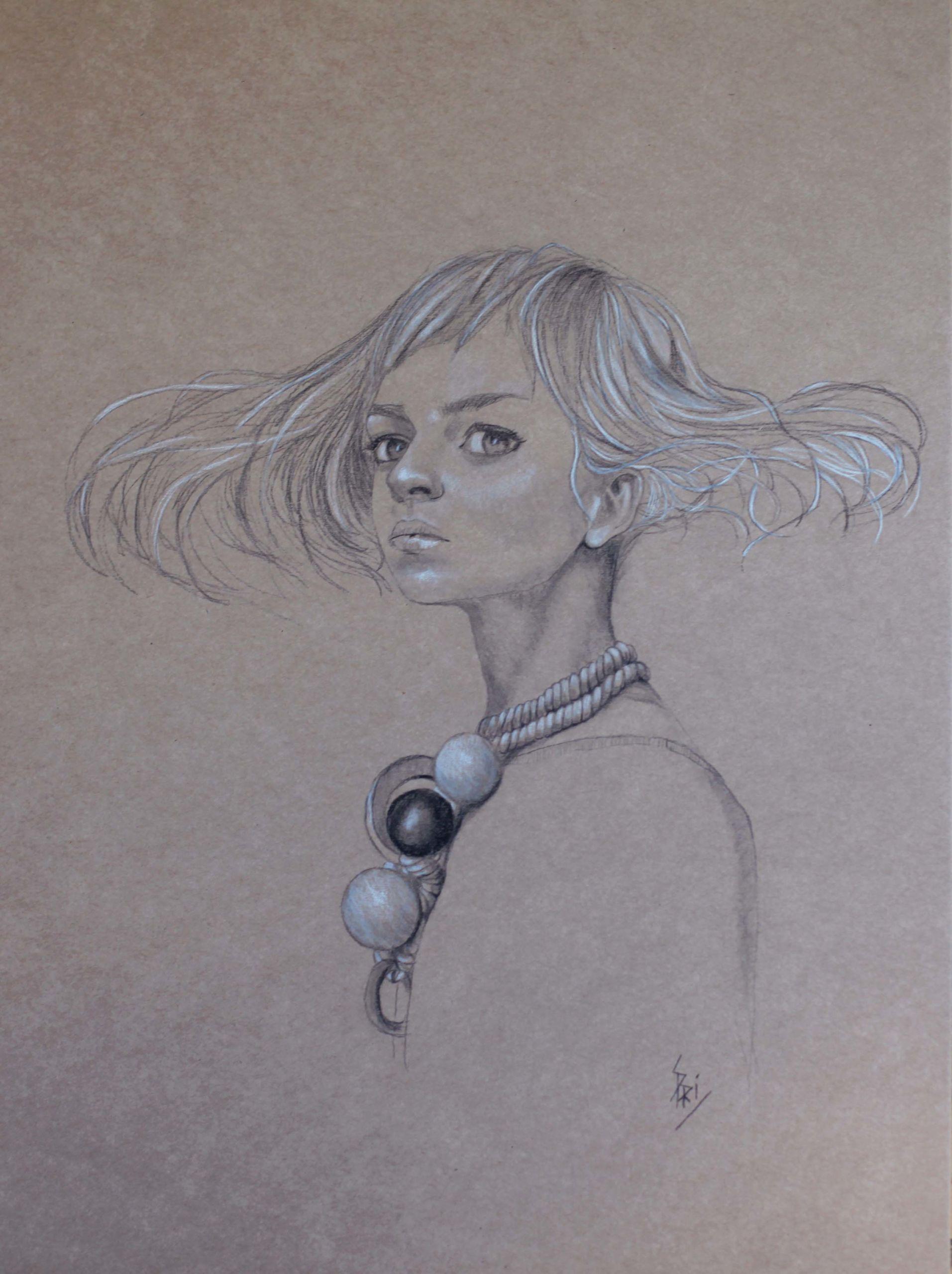 Dessin au crayon sur carton craft par Priscilla Seiller, alias S.Pri