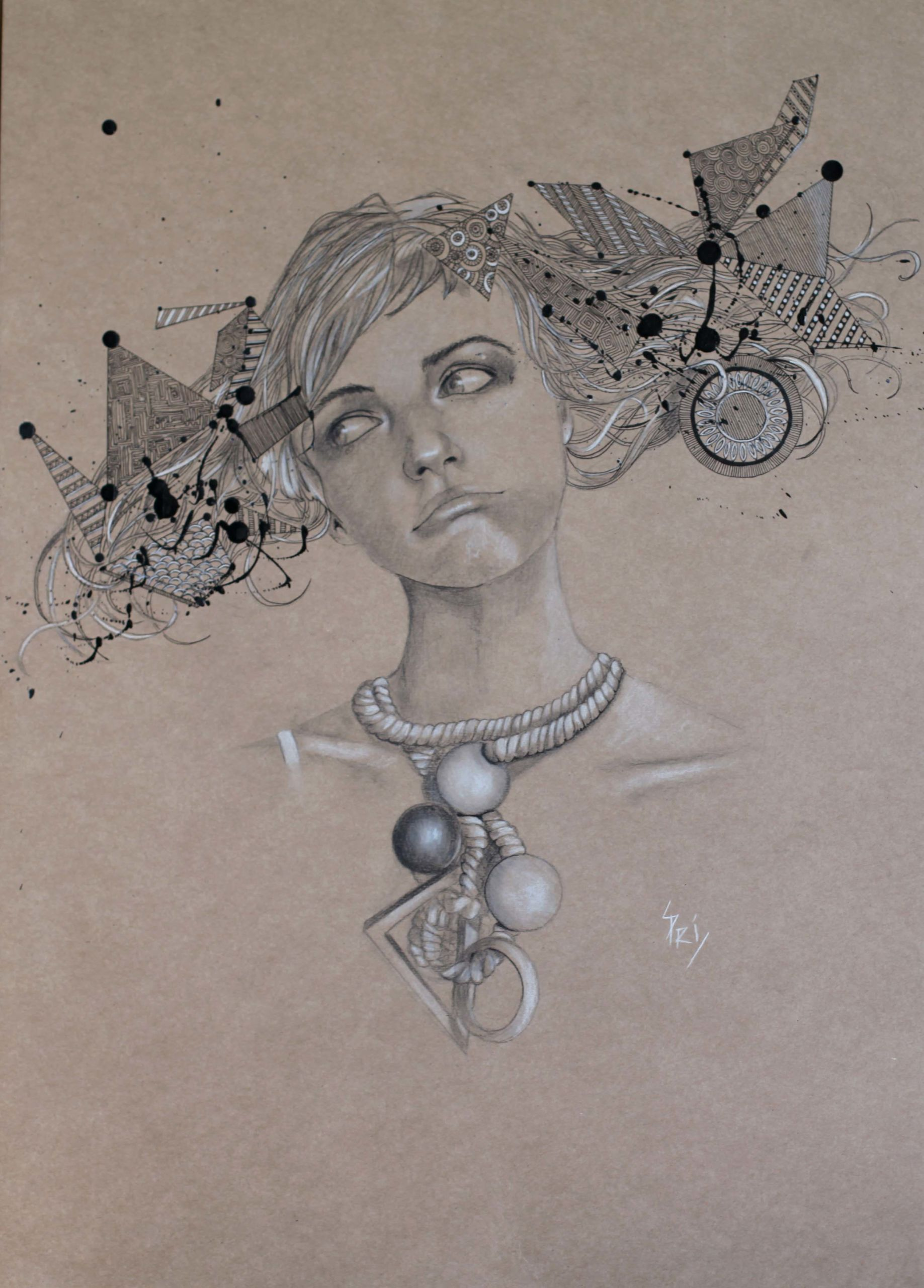 dessin sur carton craft par Priscilla Seiller, alias S.Pri