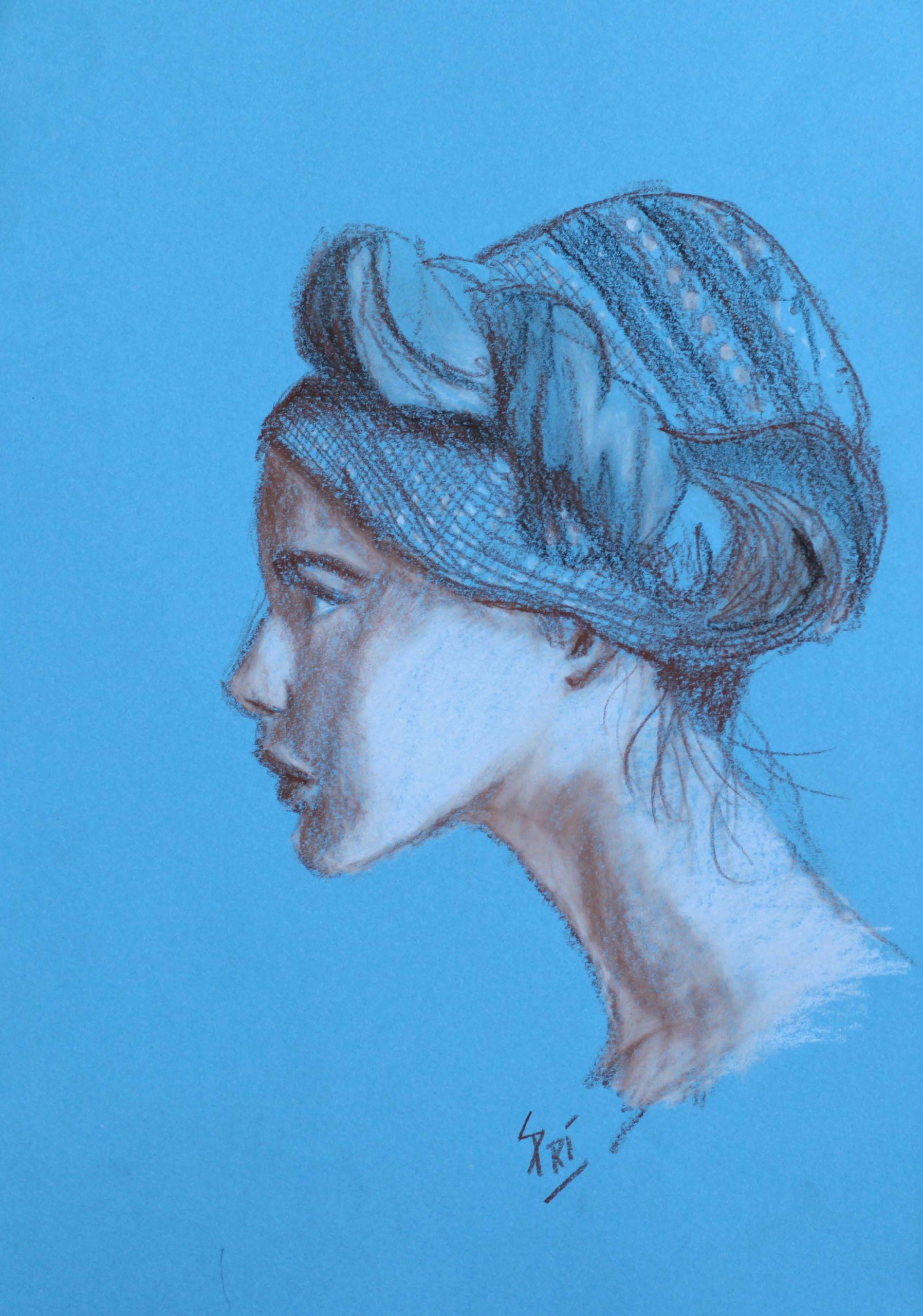 portrait au pastel dessiné par Priscilla Seiller, artiste peintre