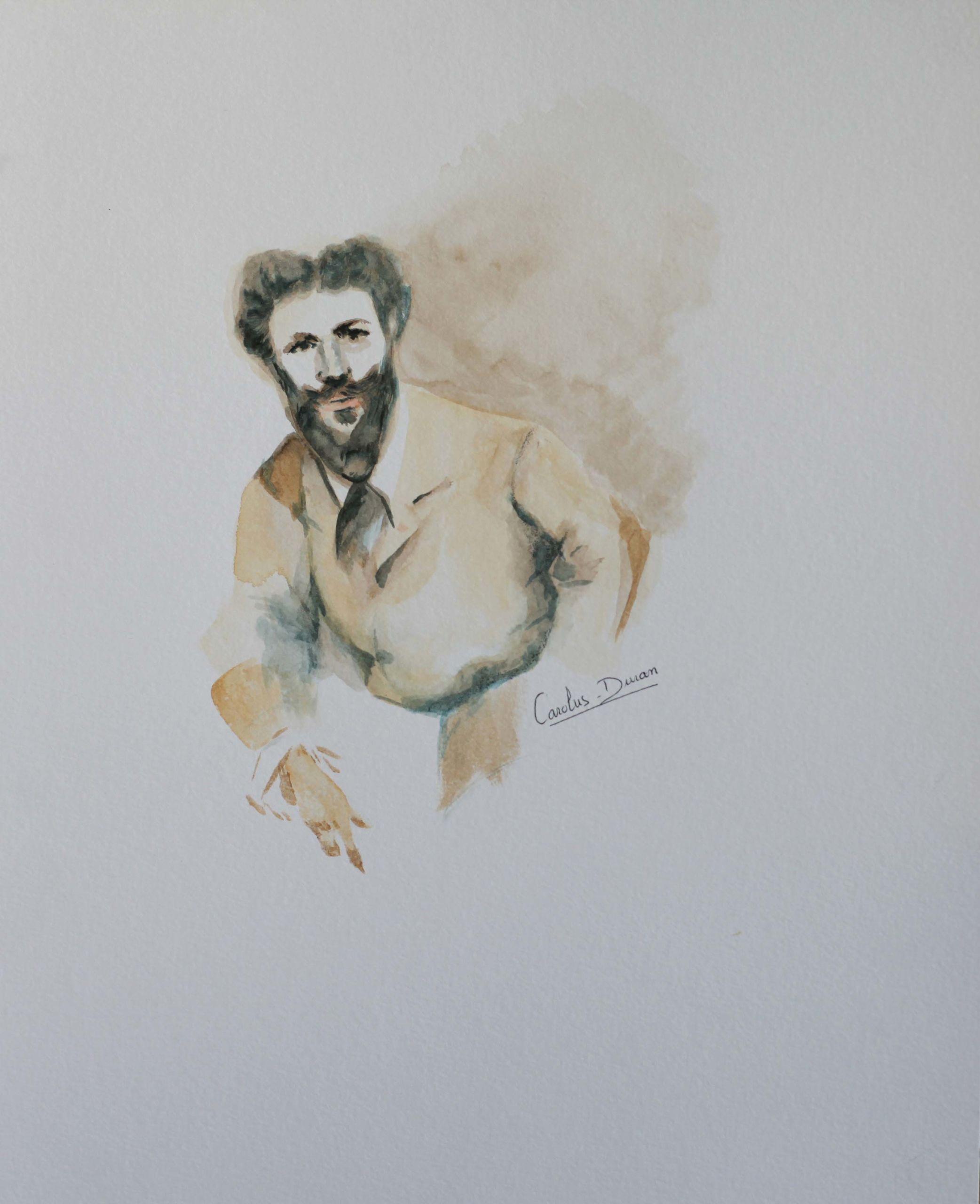 Aquarelle sur papier d'après une peinture de Sargent
