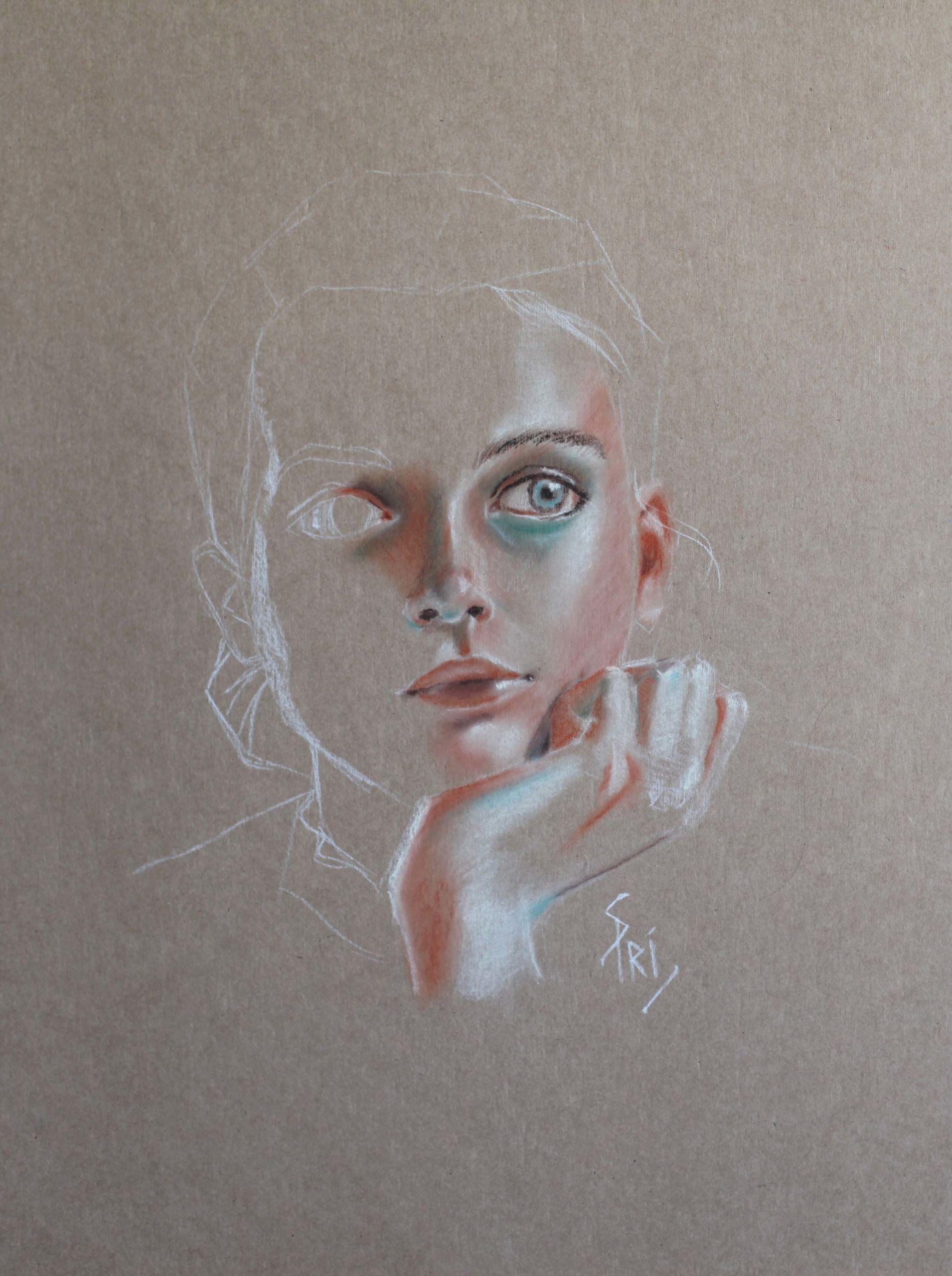 Portrait dessiné par Priscilla Seiller, peintre et dessinatrice