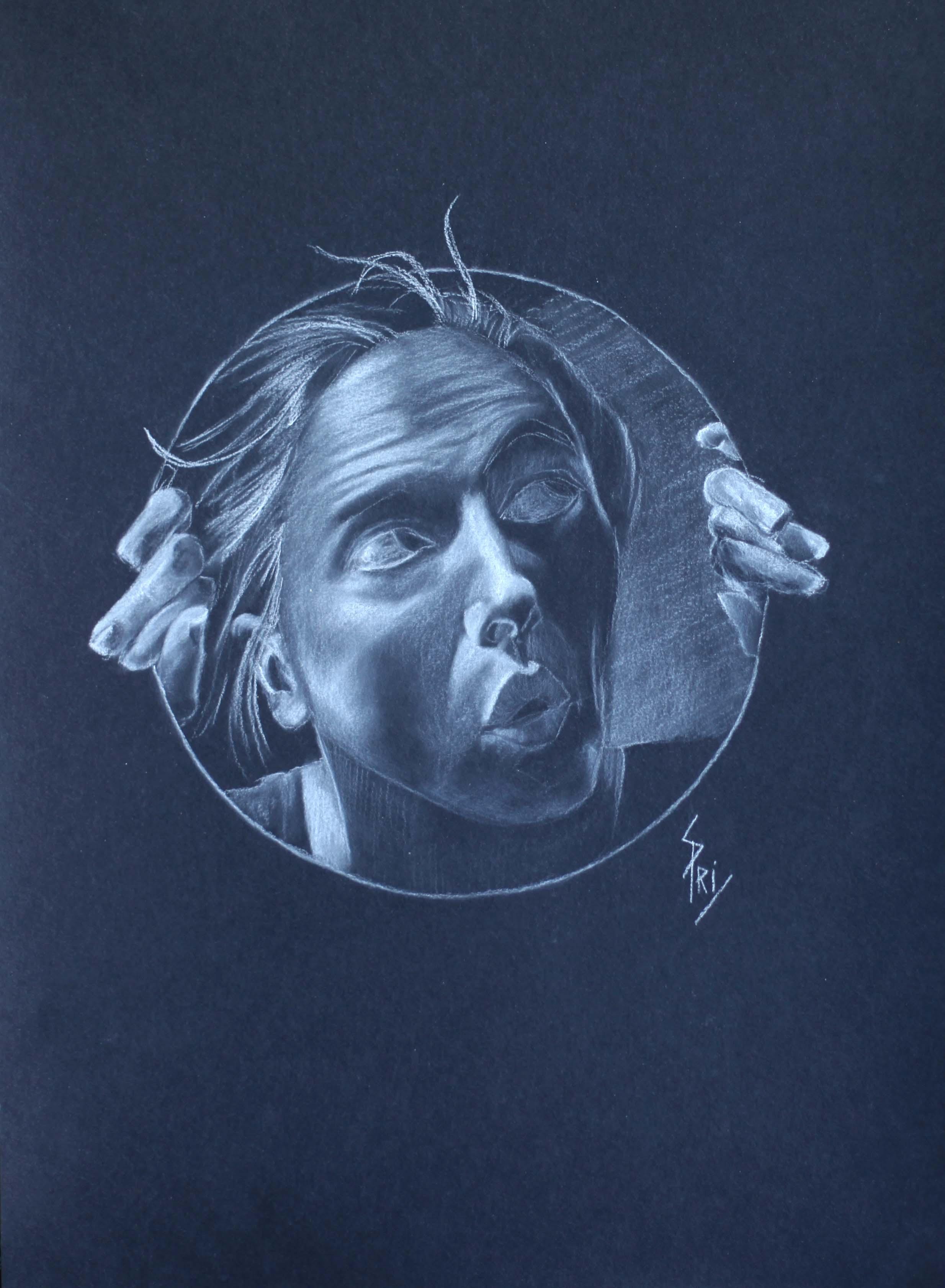 Autoportrait dessiné par Priscilla Seiller-Mandereau, artiste-peintre