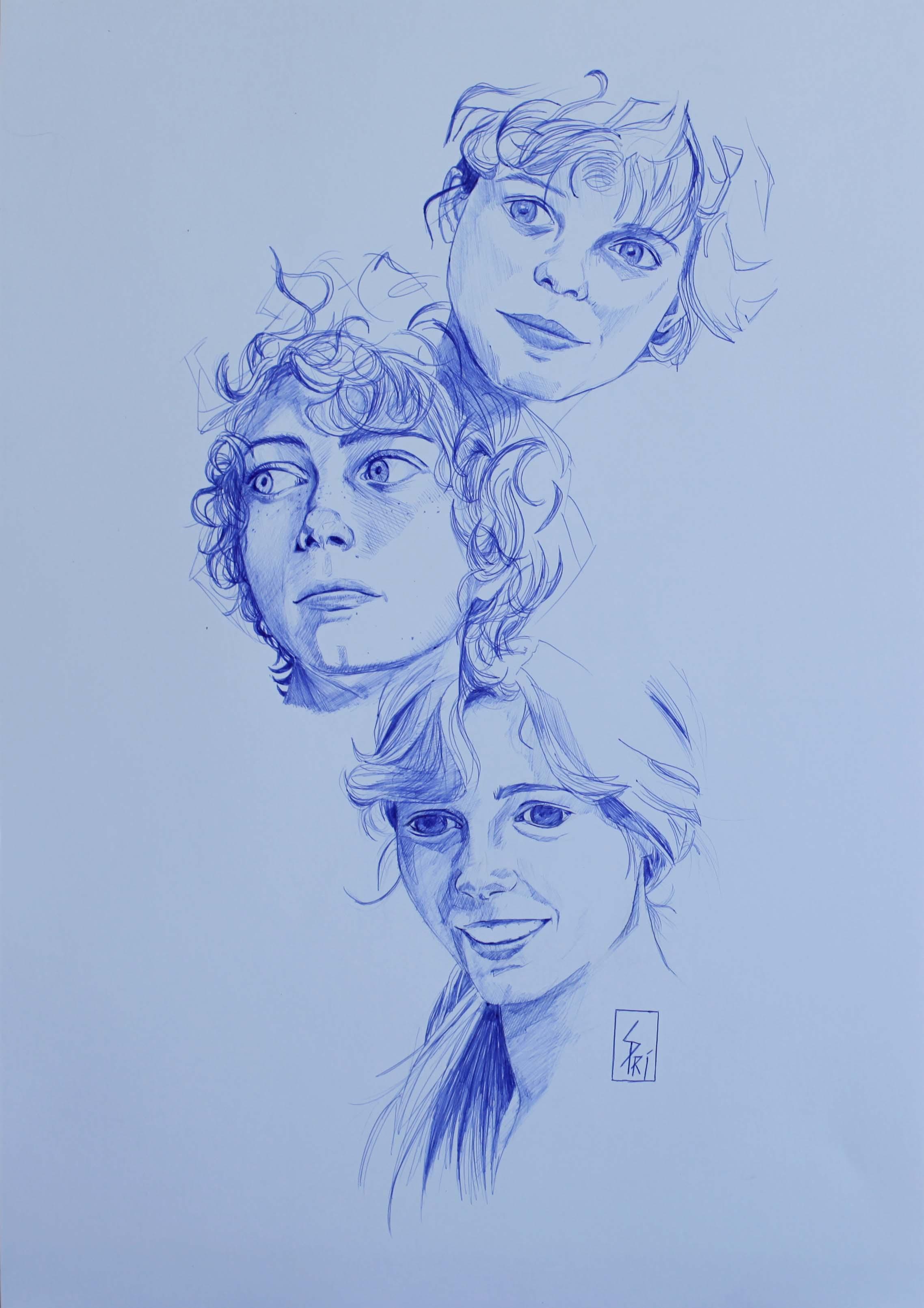 Portraits au stylo dessinés par Priscilla Seiller, S.Pri, artiste-peintre