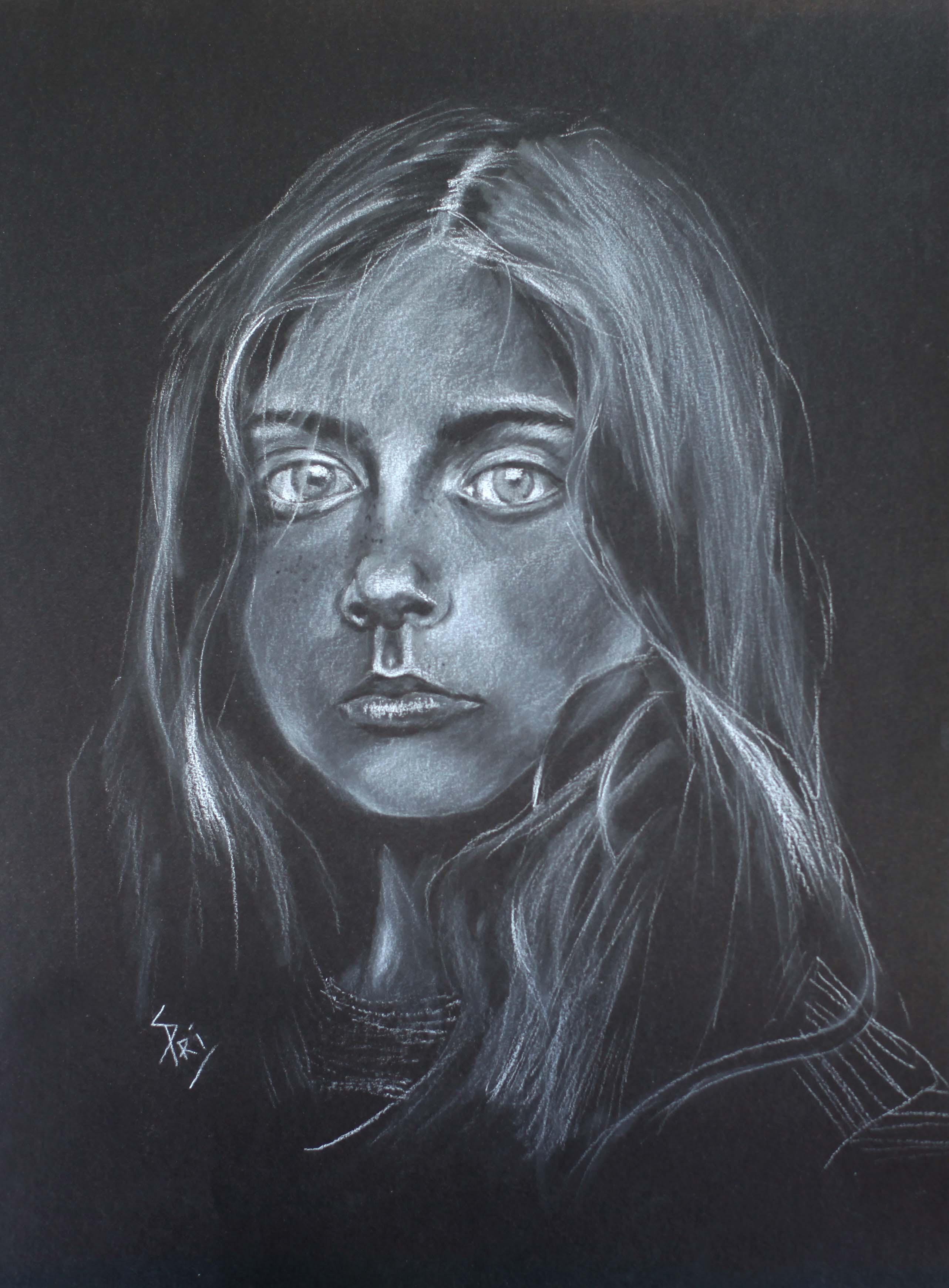 dessin sur papier noir par Priscilla Seiller-Mandereau