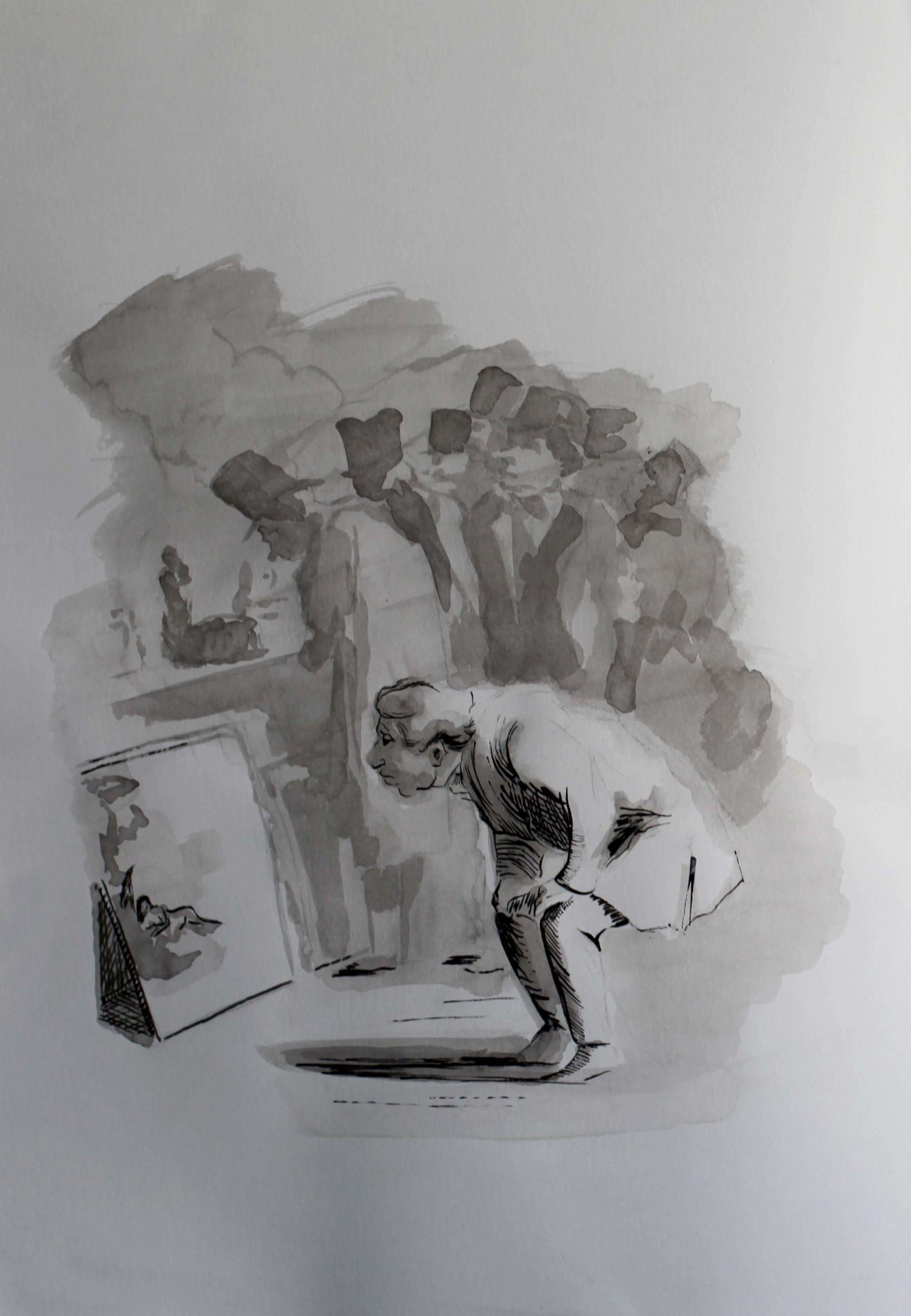 Encre de Chine réalisée par Priscilla Seiller, peintre et dessinatrice