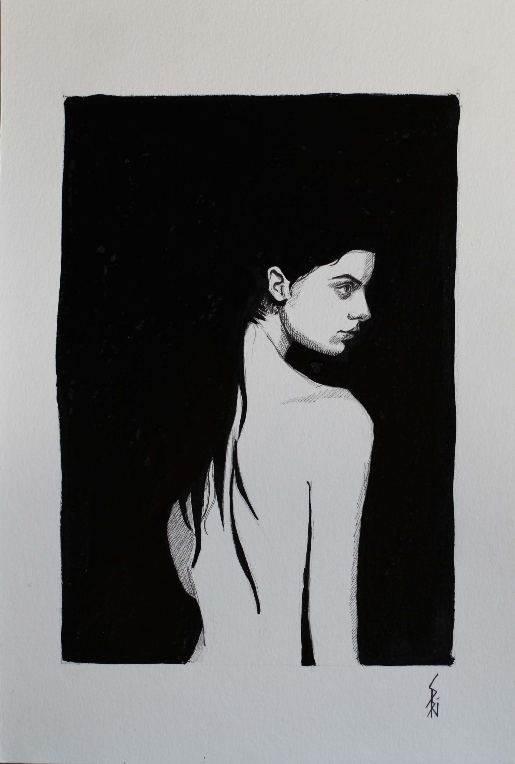 Encre de chine dessinée par Priscilla Seiller, peintre