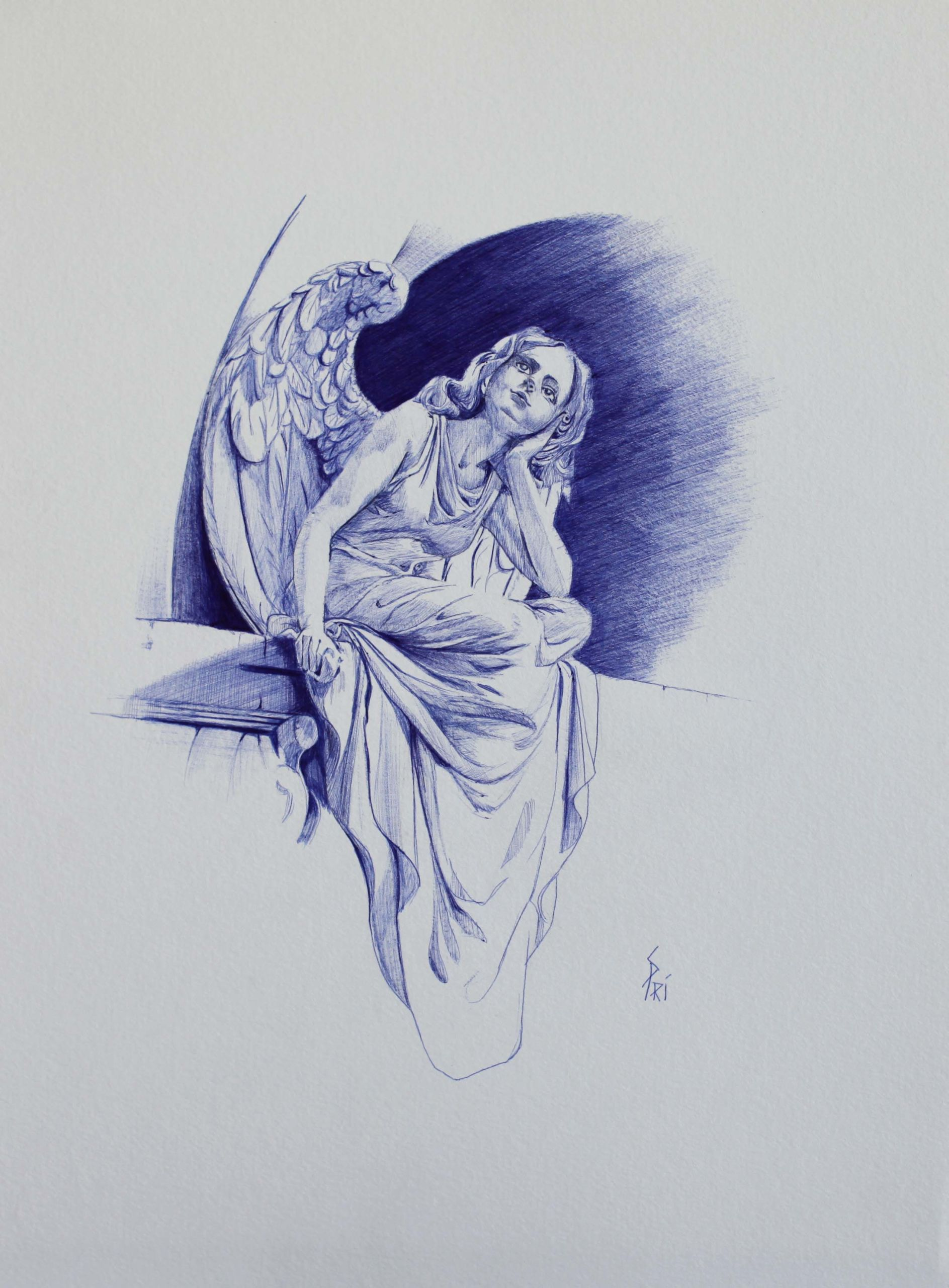 Dessin au stylo Bic par Priscilla Seiller-Mandereau, artiste-peintre