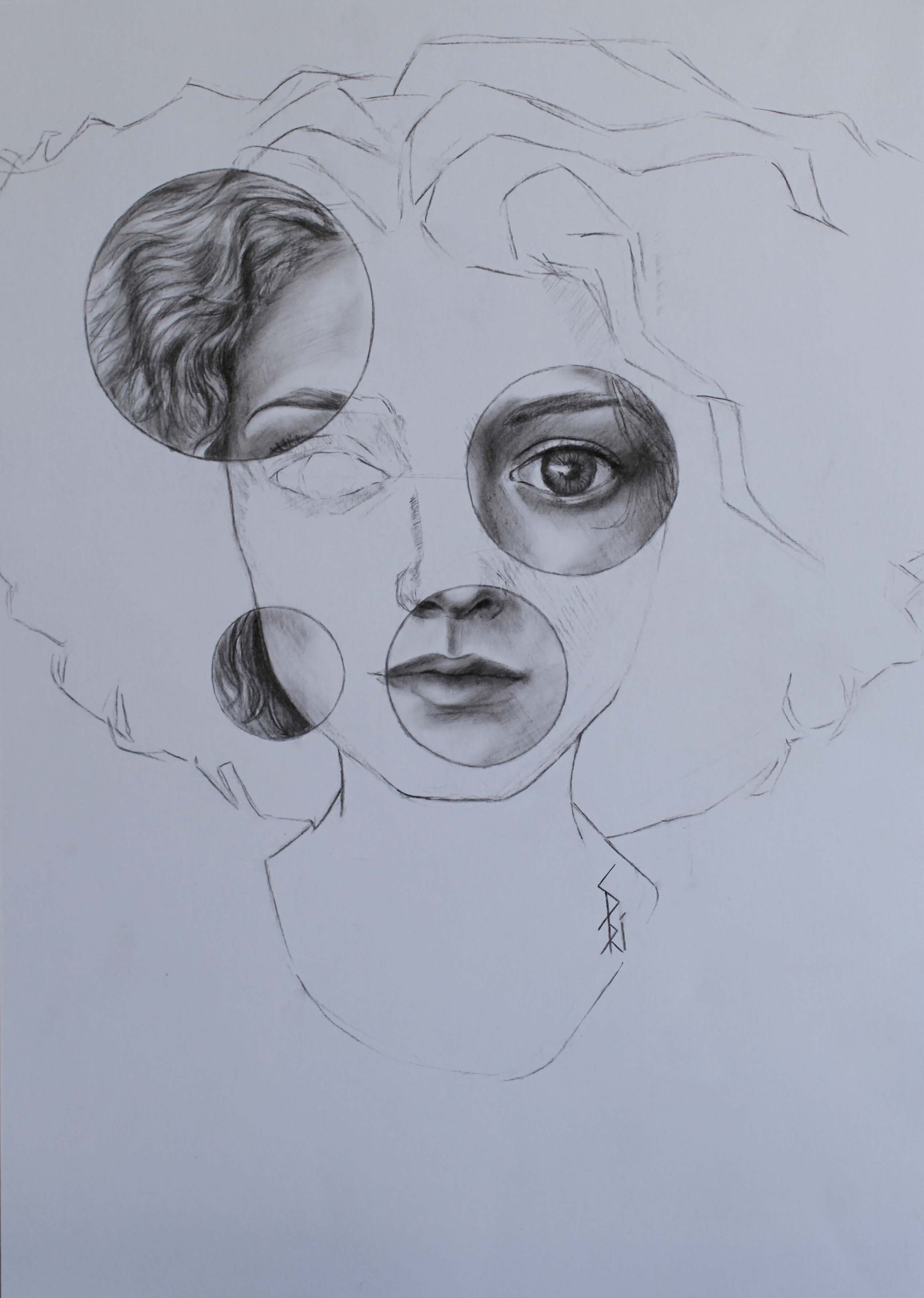 Dessin au crayon par Priscilla Seiller, peintre française