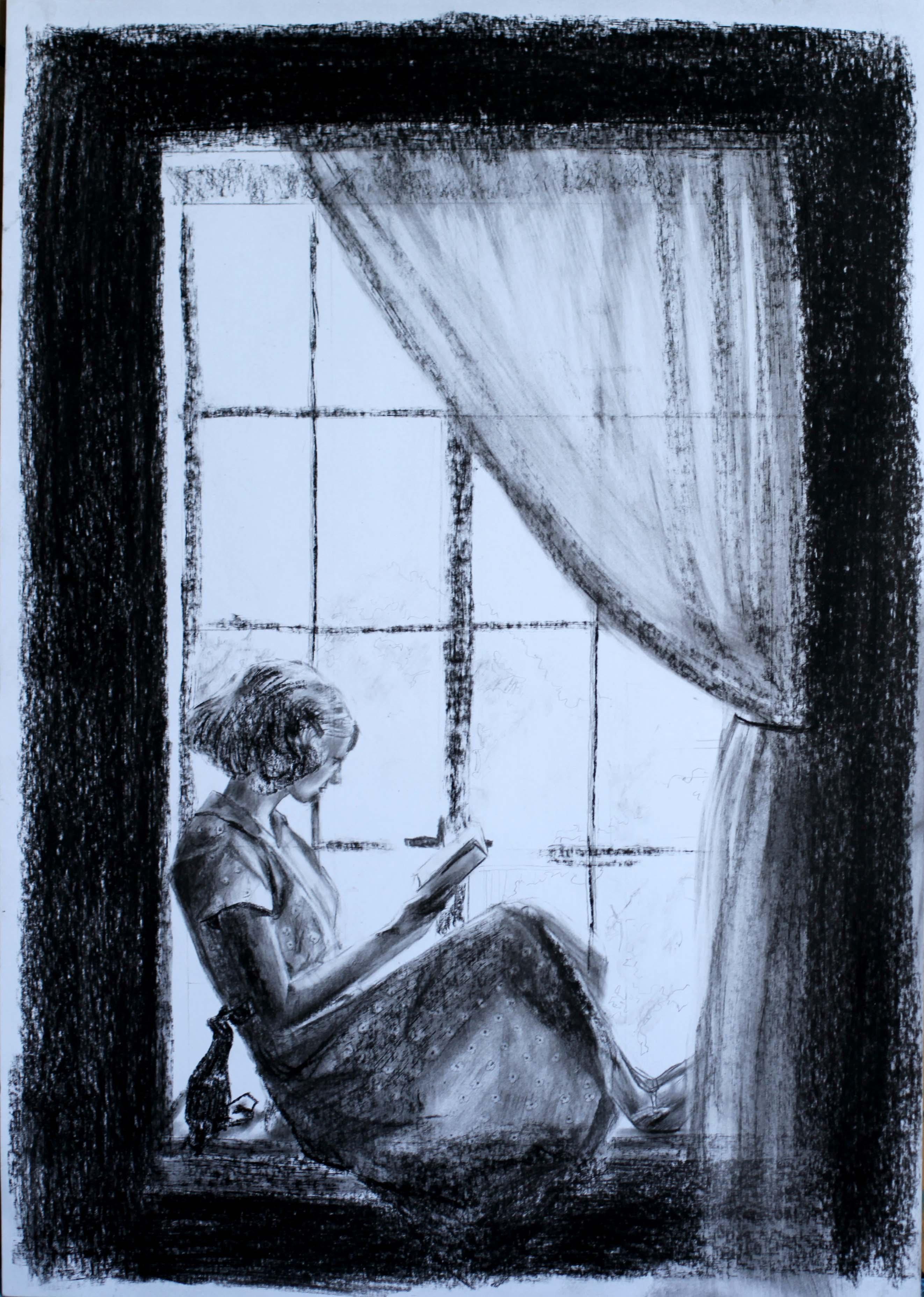 Fusain sur papier par Priscilla Seiller, dessinatrice et peintre