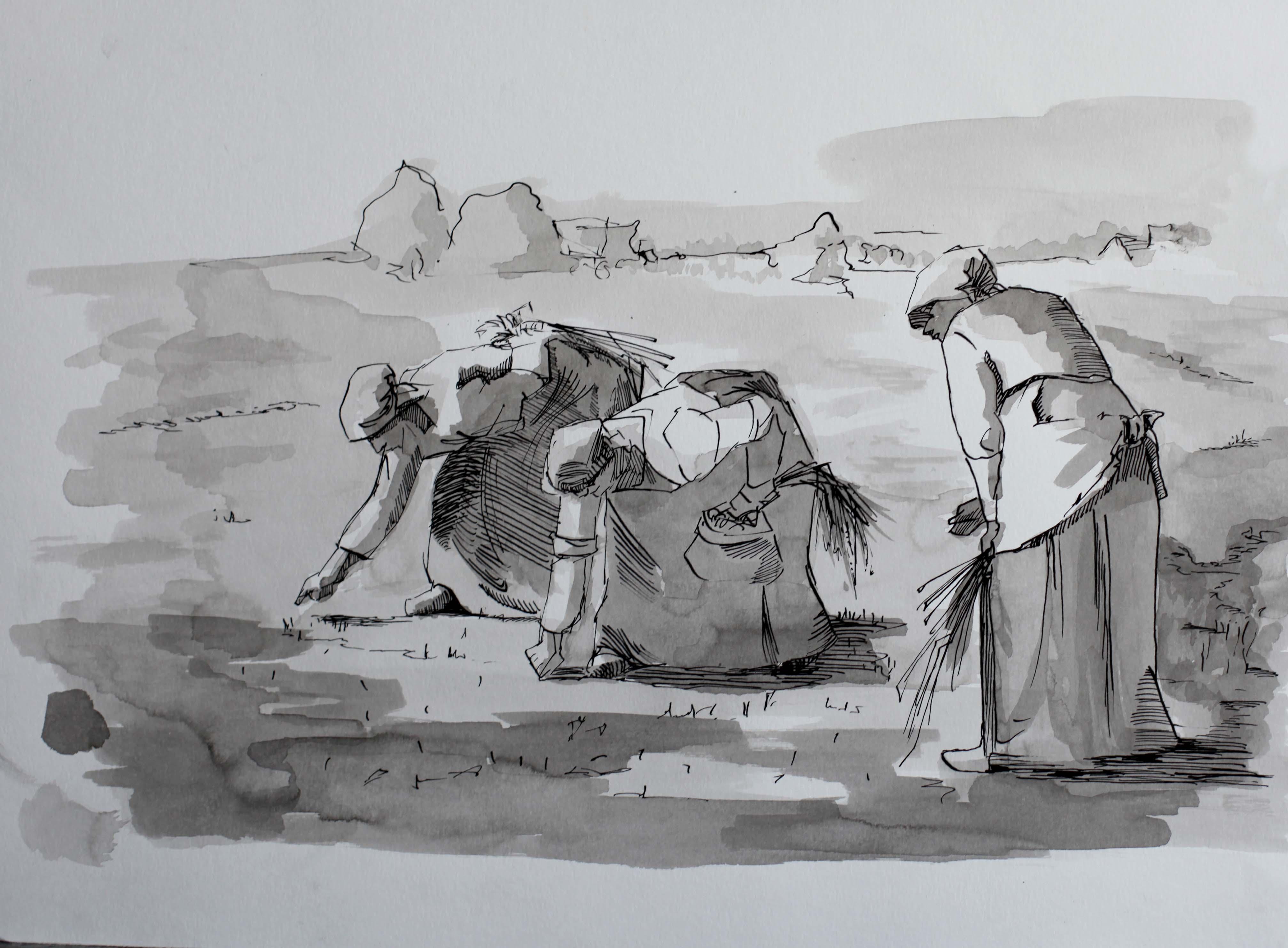 Les semeuses, copie à l'Encre de Chine par Priscilla Seiller