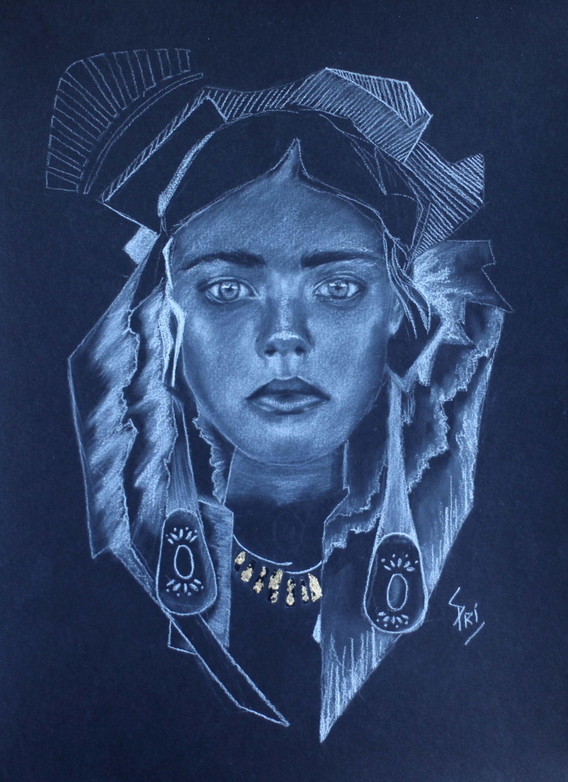 Dessin au crayon blanc dessiné par Priscilla Seiller
