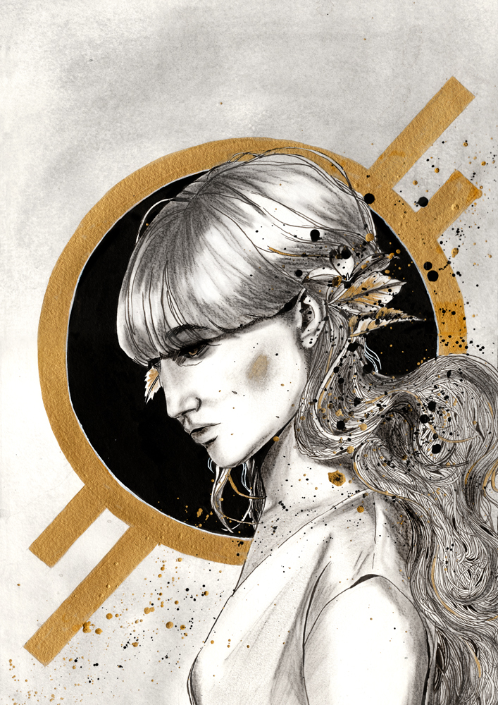 Illustration à l'encre et fusain par Priscilla Seiller