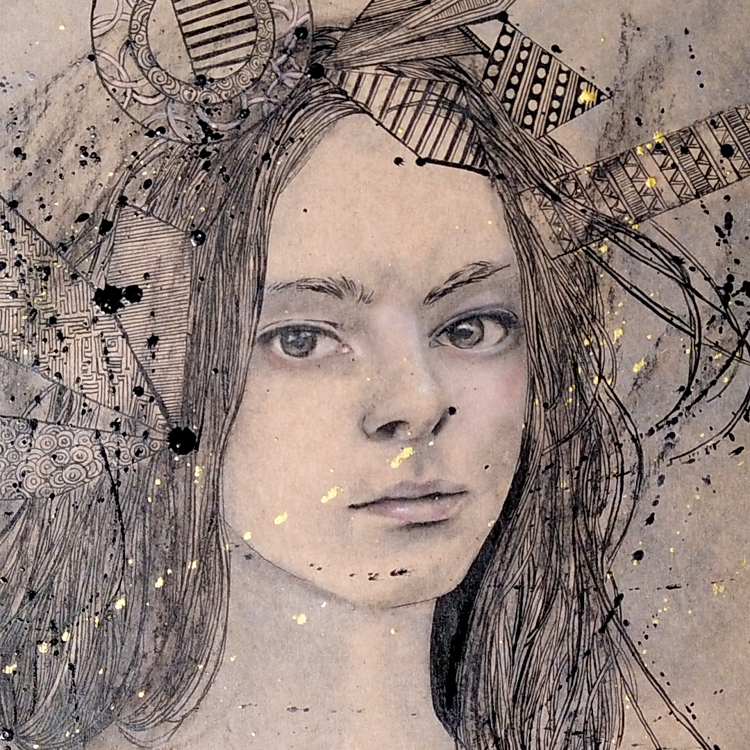 gros plan sur un dessin au fusain et à l'encre de Chine par l'illustratrice Priscilla Seiller
