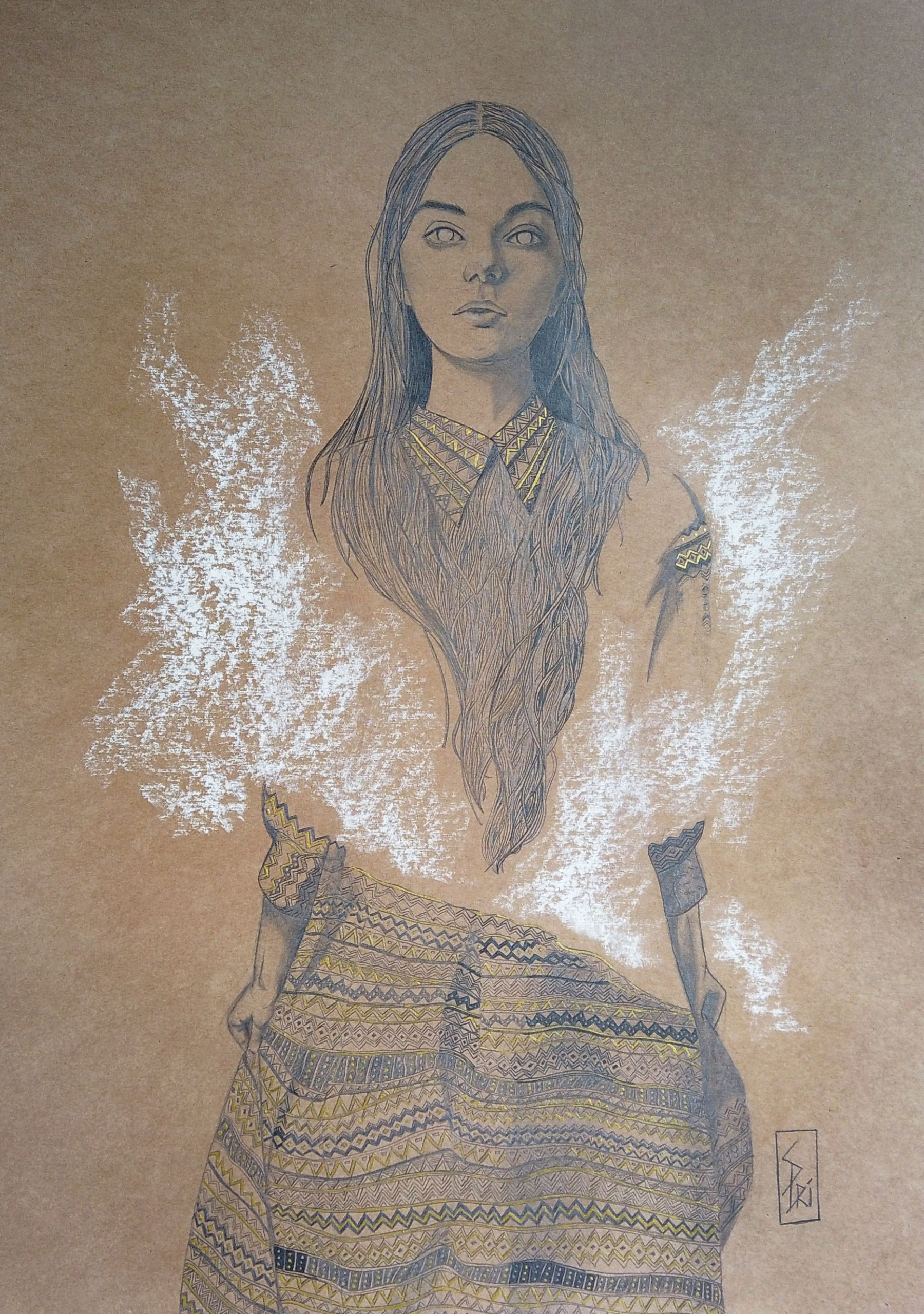 dessin au crayon graphite par la dessinatrice Priscilla Seiller