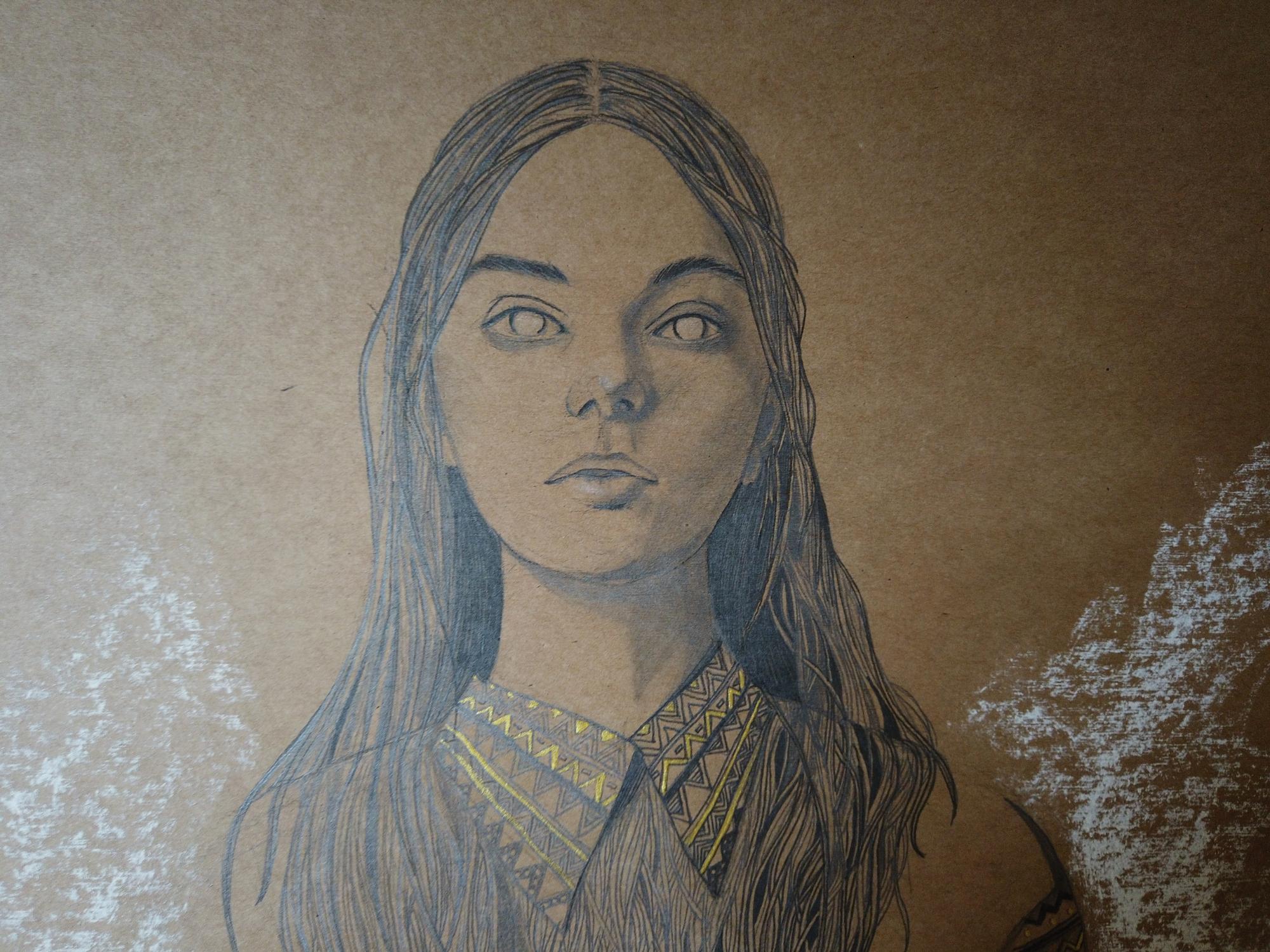 détail dessin au crayon graphite par la dessinatrice Priscilla Seiller