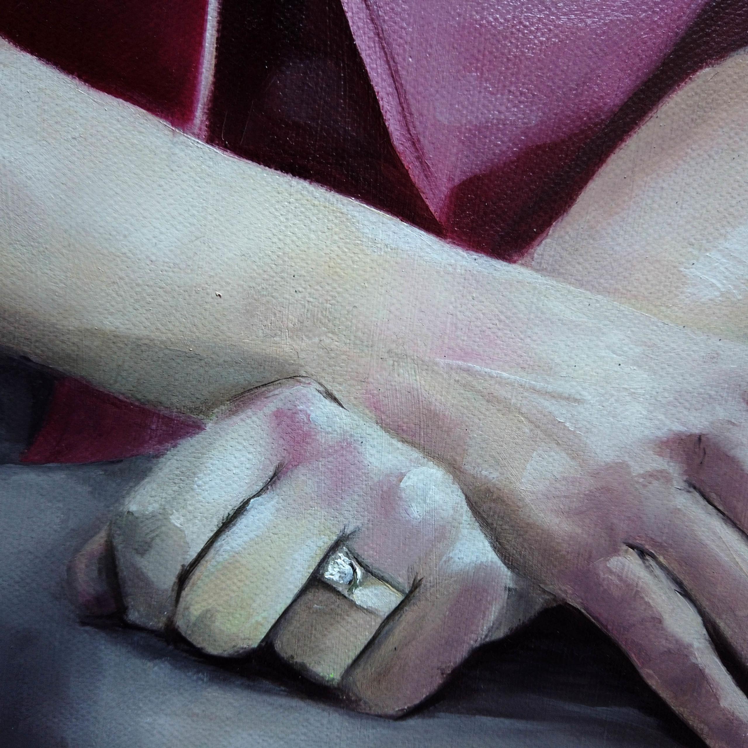Détail sur Pensées légères, peinture à l'huile par l'artiste peintre Priscilla Seiller