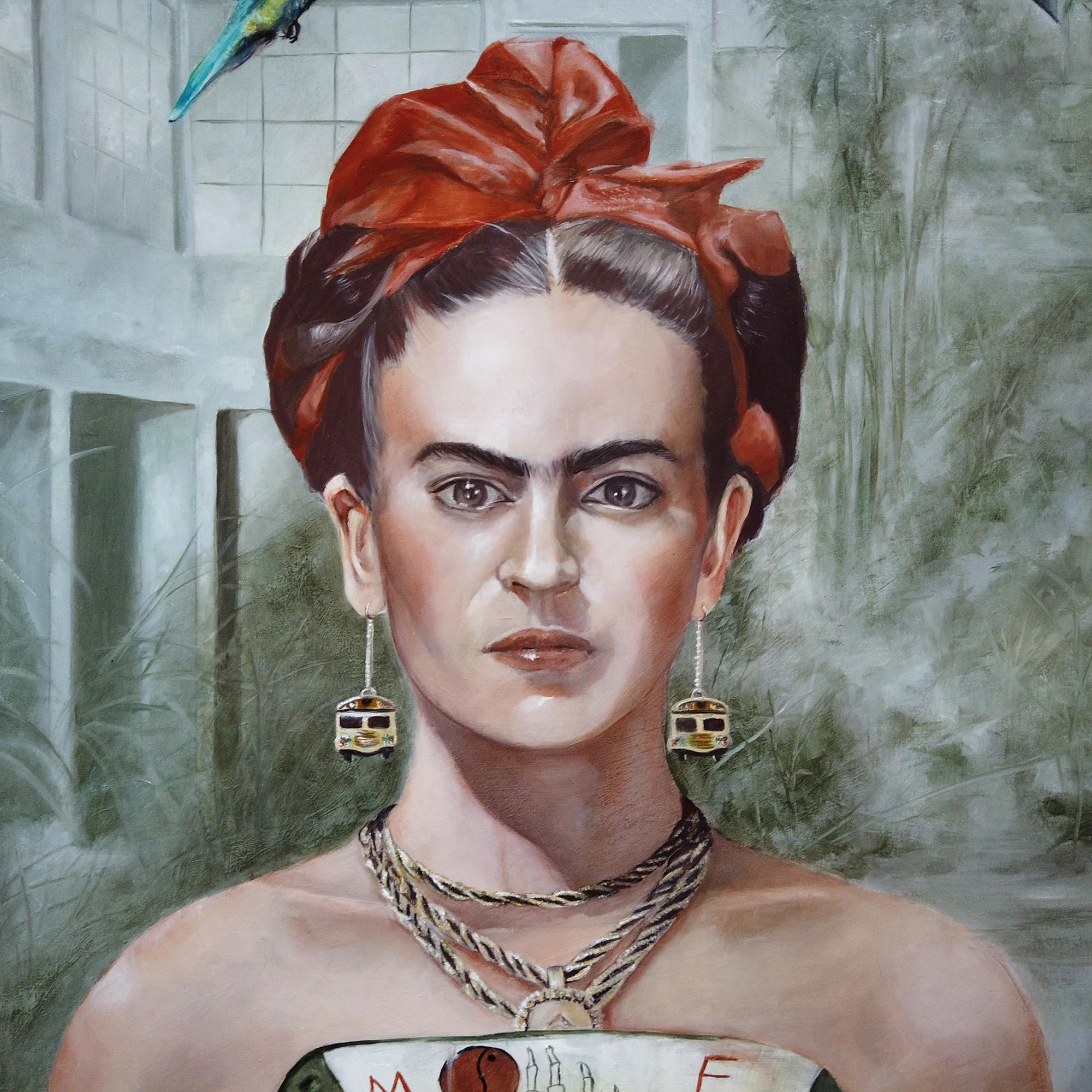 Gros plan sur le portrait à l'huile de Frida Kahlo par Priscilla Seiller
