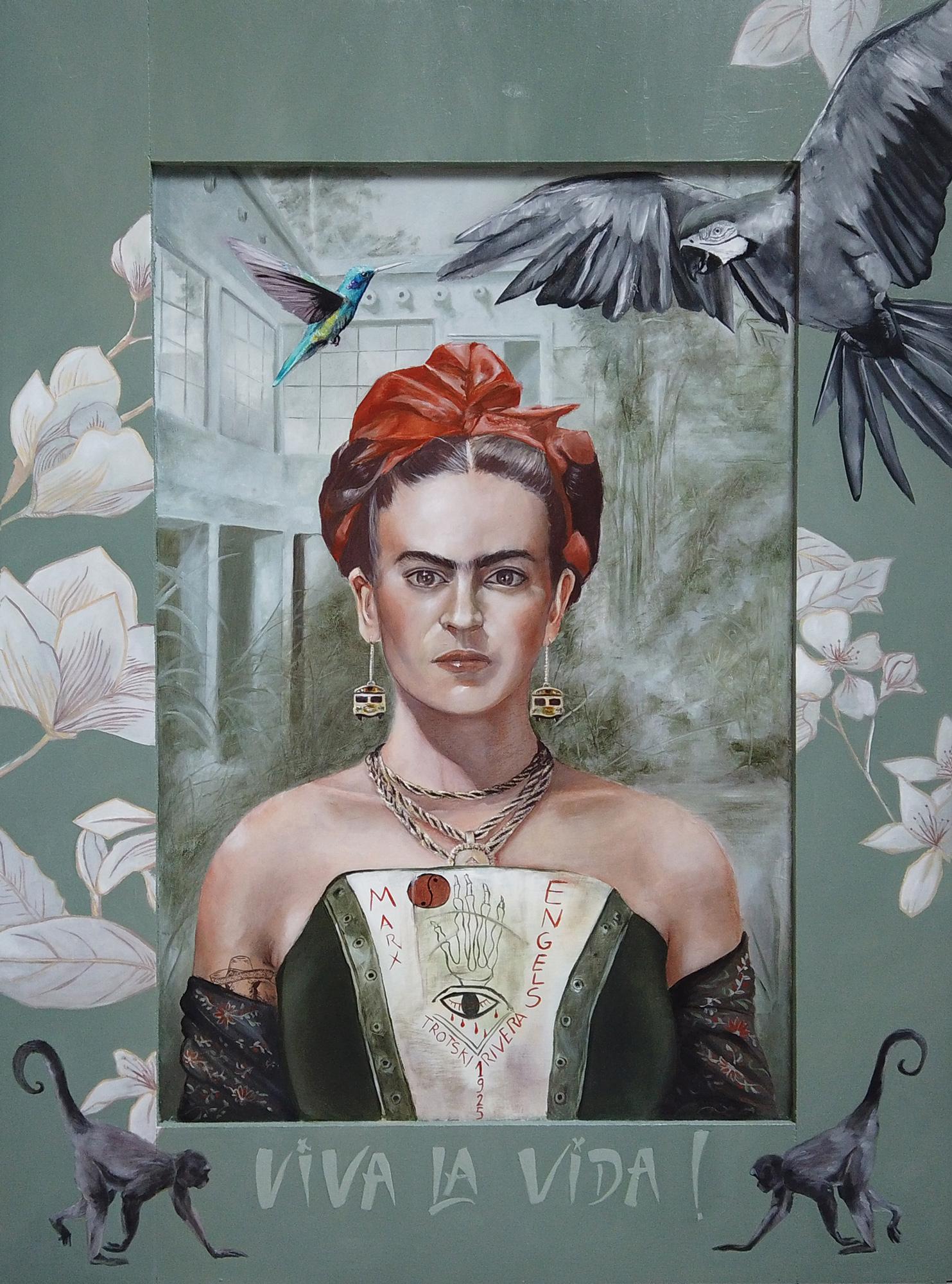 Portrait de Frida Kahlo par l'artiste peintre Priscilla Seiller