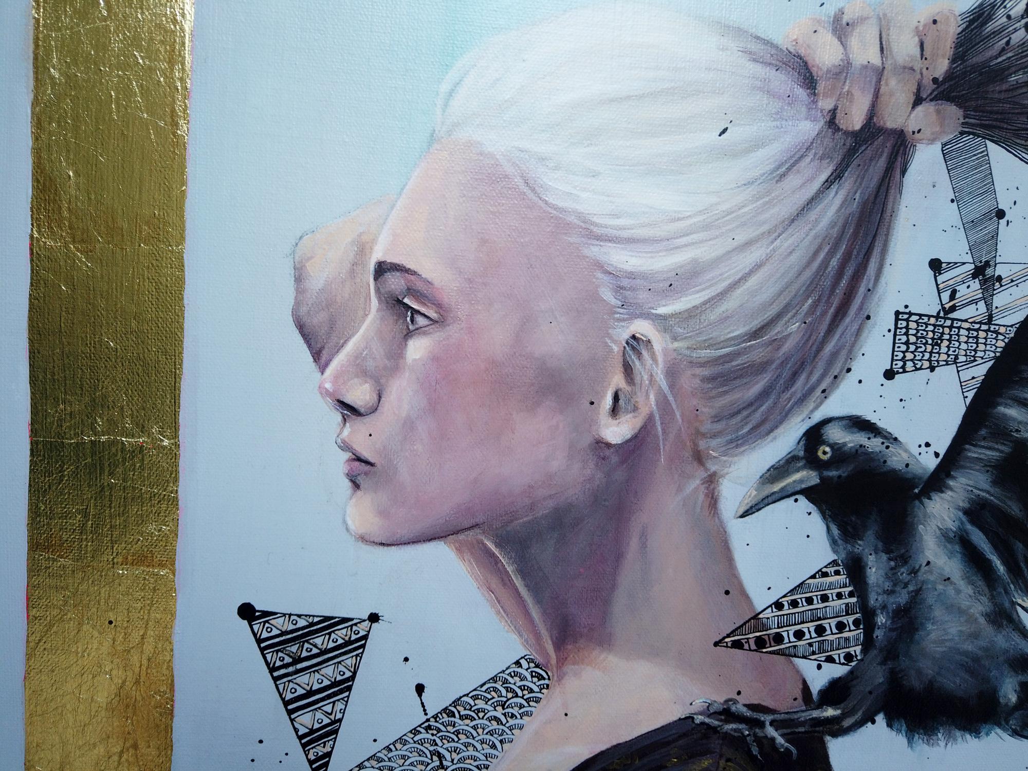 Détail du tableau acrylique peint par l'artiste peintre Priscilla Seiller
