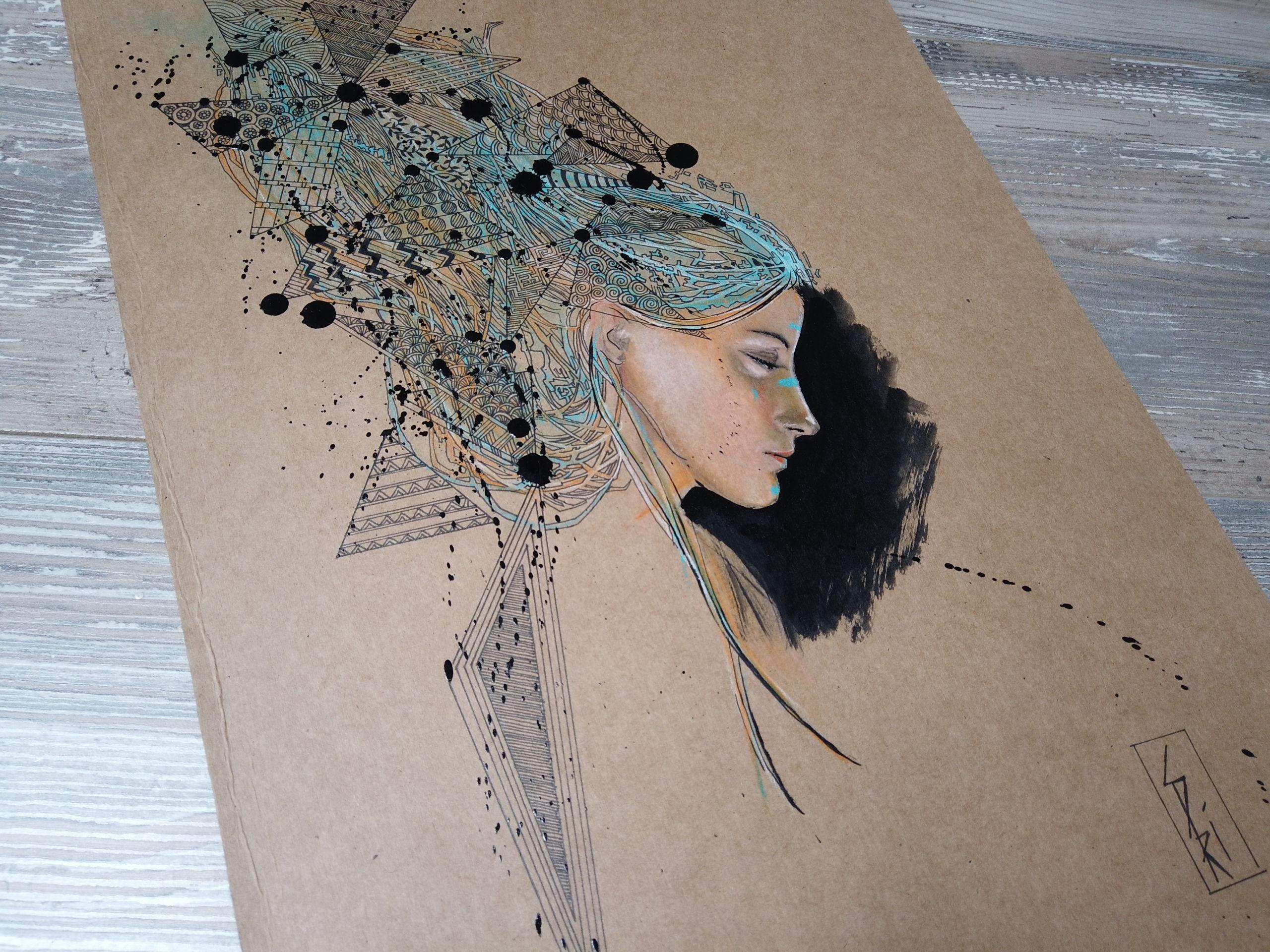 Dessin sur papier craft par l'artiste Priscilla Seiller : encre de chine et pastels