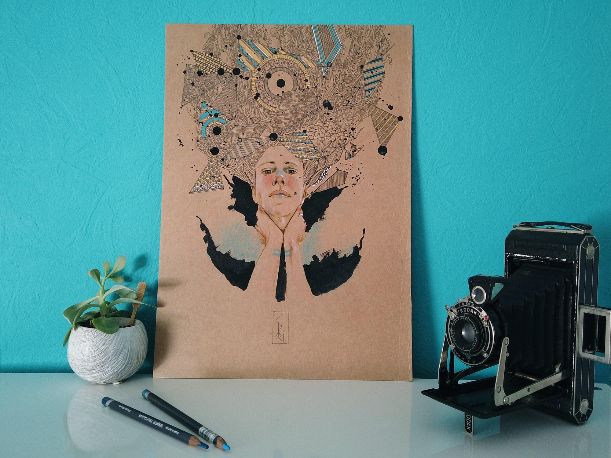 dessin pastel et encre par l'artiste Priscilla Seiller